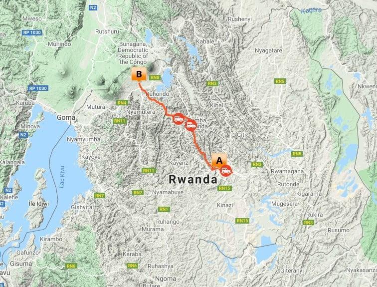 5 dagen Tembera Rwanda Primate trip_map