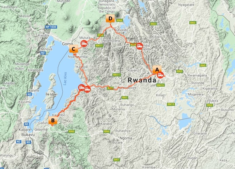 7 Dagen Nyungwe & Volcanoes Primate Tour_map
