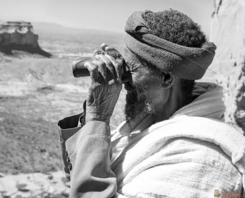 Abuna Yemata Guh, Tigray rock hewn churches. Gheralta massif 2 B&W