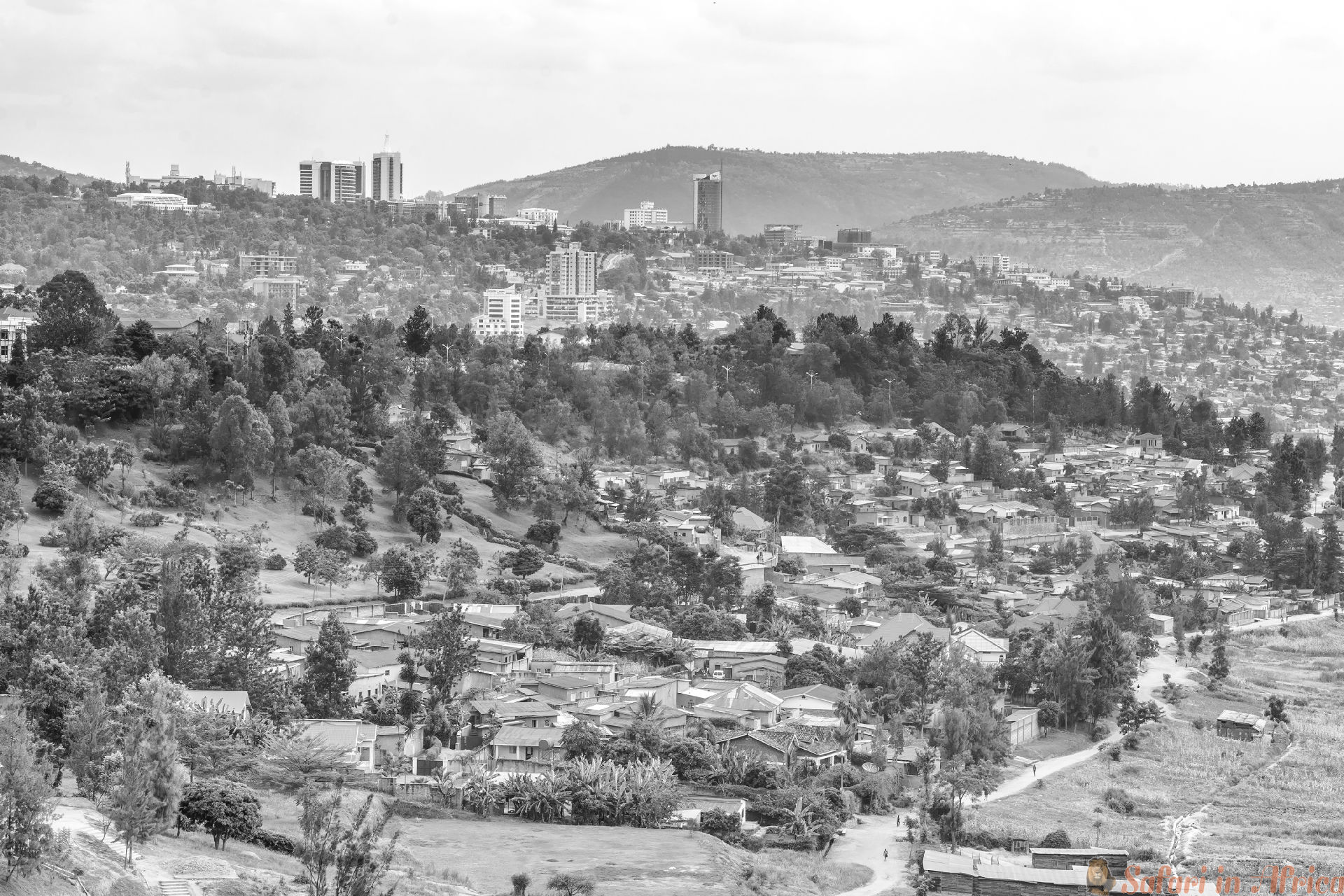 Aerial view of Kigali from a distance B&W