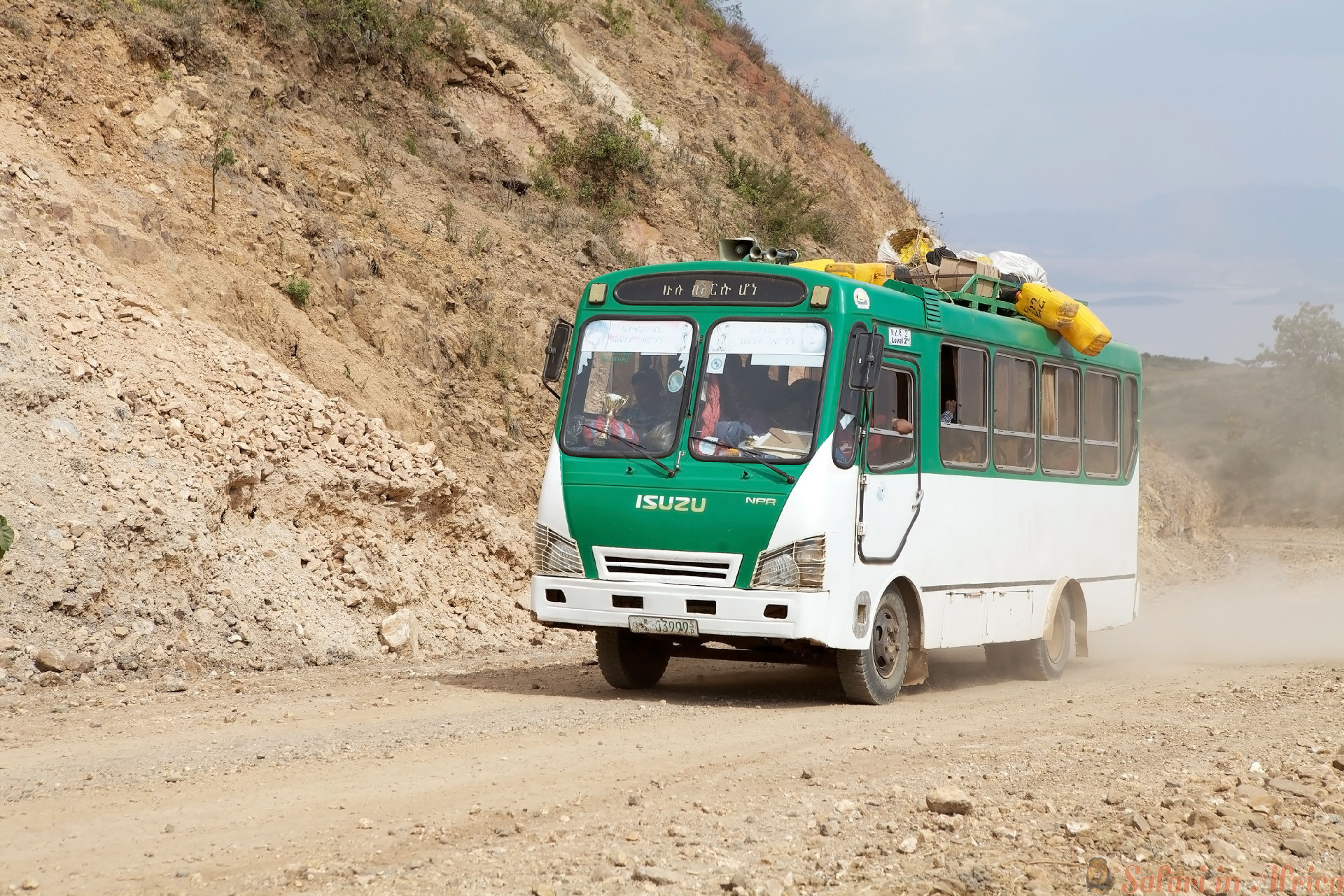 African bus along the road from Arba Minch to Dorze, Ethiopia