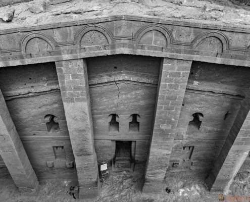 Bet Medhane Alem House of the Saviour of the World, the largest rock-hewn church B&W
