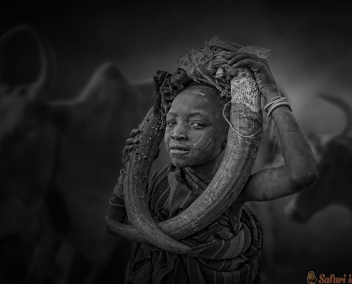 Boy from the African tribe Mursi, Ethiopia B&W
