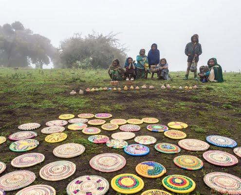 Children in Semien Mountains, Ethiopia, on a foggy day.