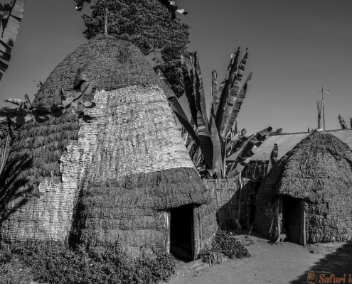 Dorze ethnic group at the Chencha village. Ethiopia B&W