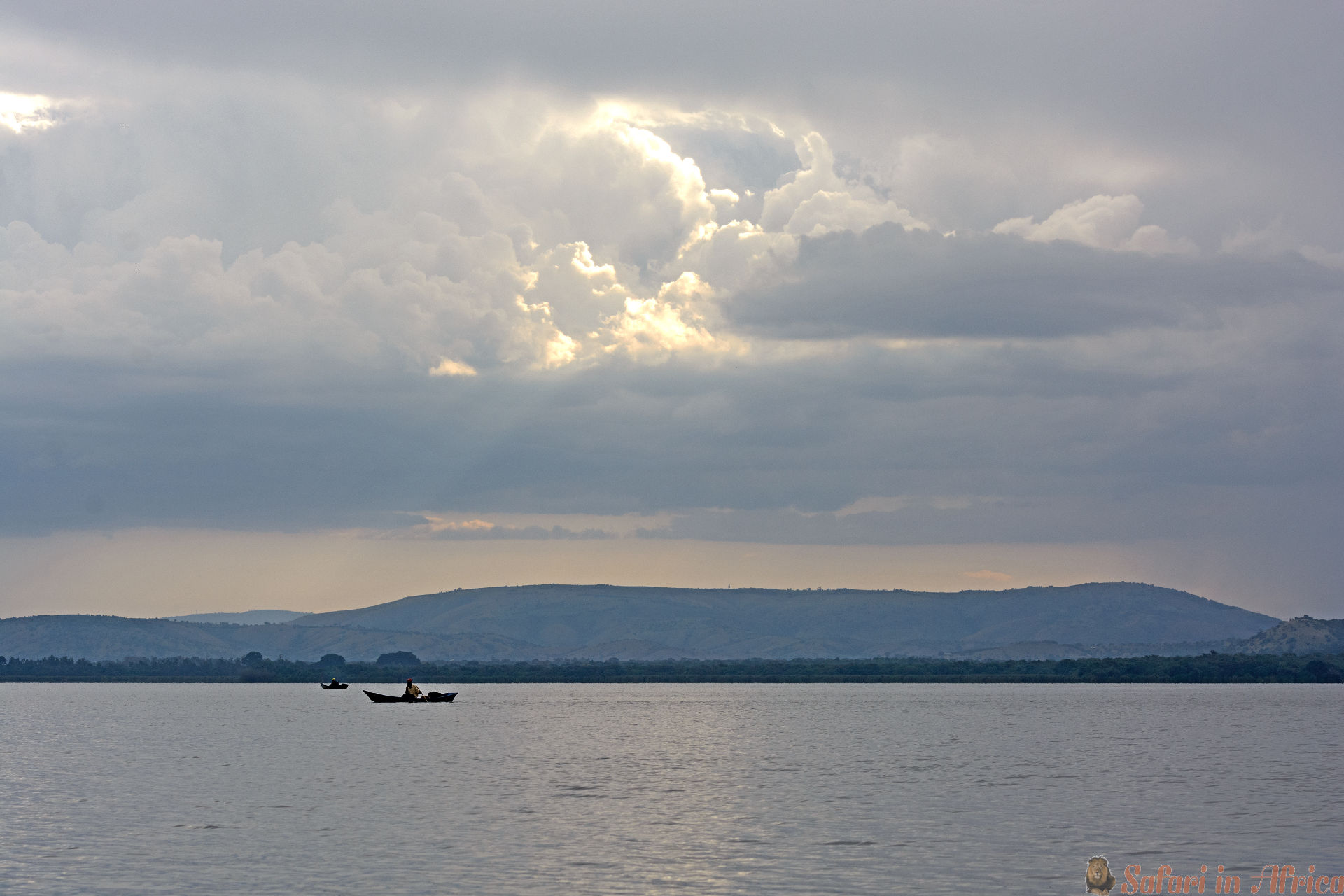 Fisherman on Lake Mburo in Uganda at Sunset