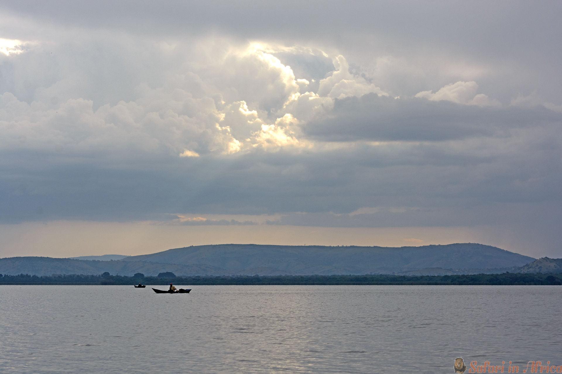 Fisherman on Lake Mburo in Uganda at Sunset
