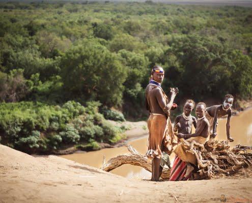 Group of Karo near the river of the Omo, Ethiopia