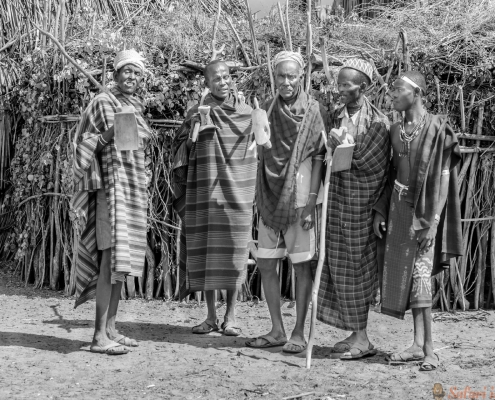Group of old men from Arbore Tribe, Ethiopia B&W