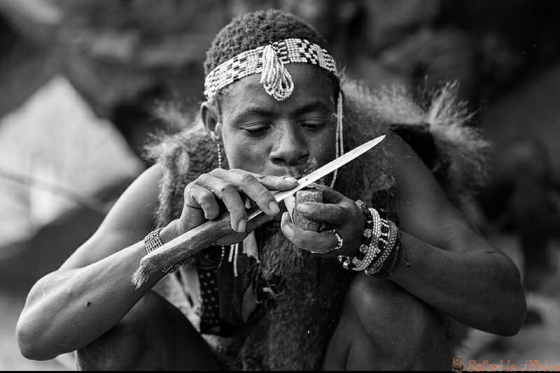 Hadzabe Making fire B&W