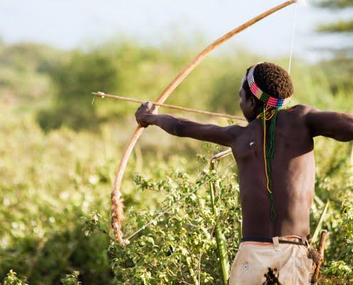 Hadzabe hunting man, Lake Eyasi