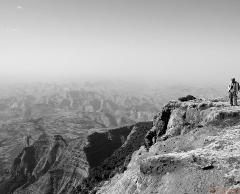 Hiking with a guard in simien mountains national park, ethiopia B&W