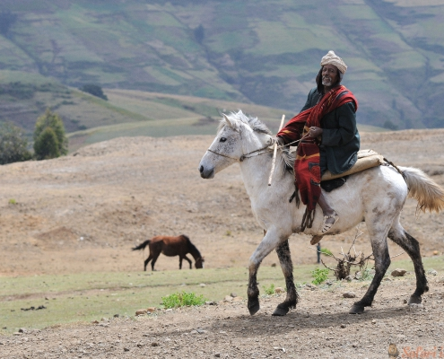 Horse rider near the entrance of the Simien Mountains NP, North-Ethiopia