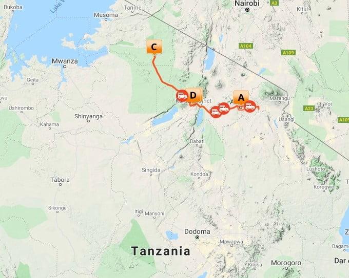 6 dagen Basic Twende Tanzania Safari_map-2021