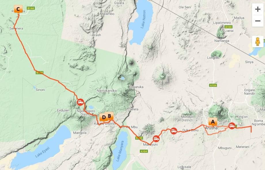 (MS5) 6 dagen Basic Twende Tanzania Safari_map
