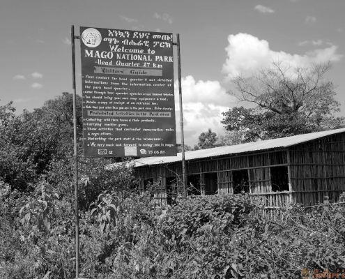 Mago National Park visitor guide at the border of the park, Ethiopia B&W