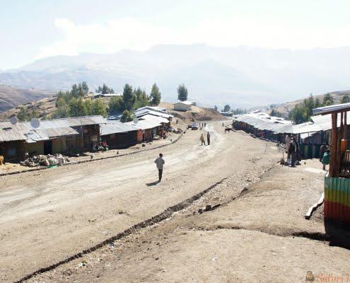 Main street in Chiro Leba village, Simien mountains