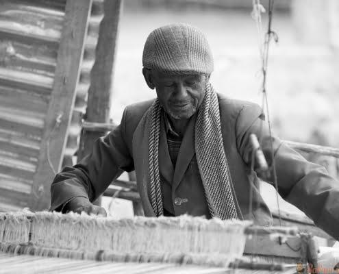 Man making cloth in Ethiopia, Oromia B&W