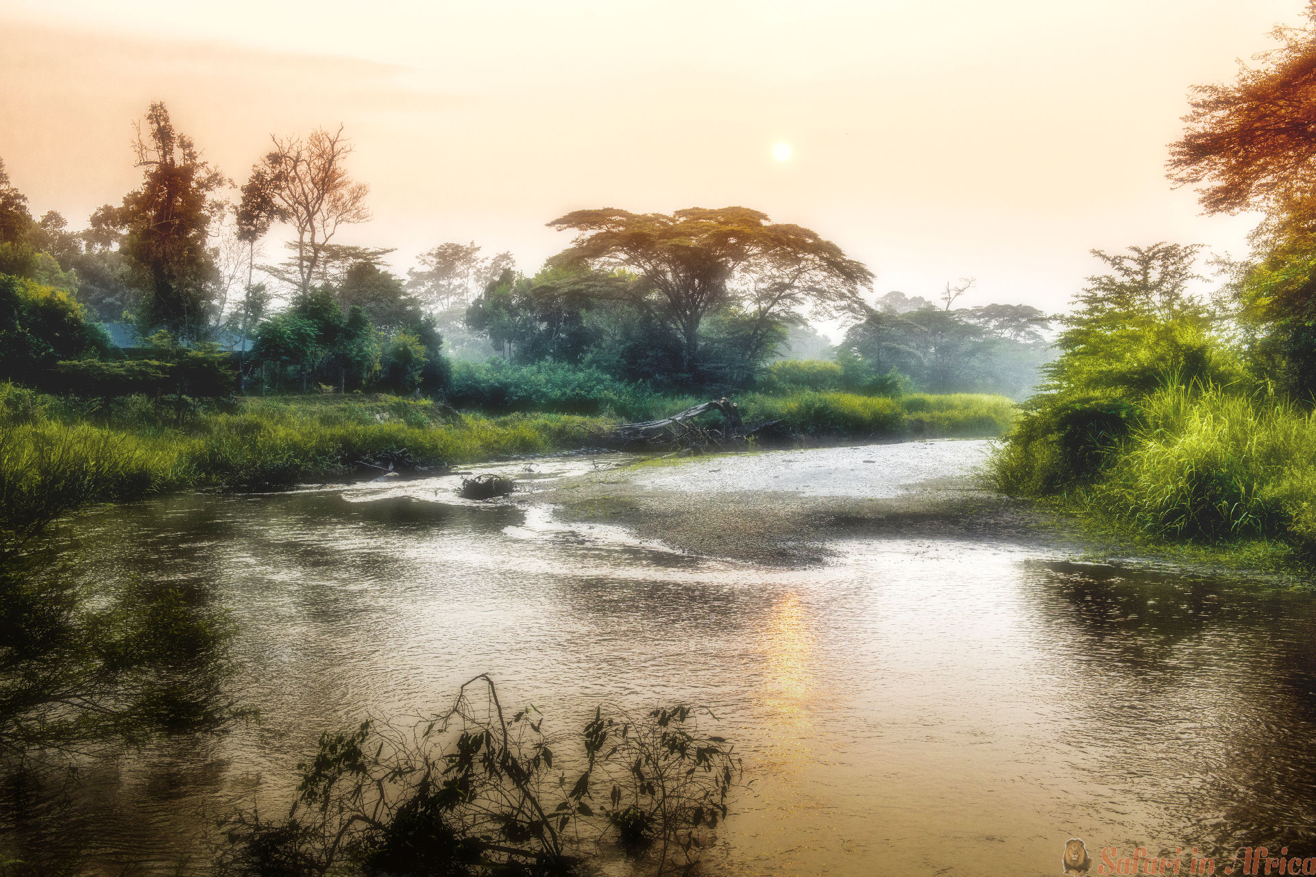Morning on Ishasha River, Queen Elizabeth National Park in Uganda