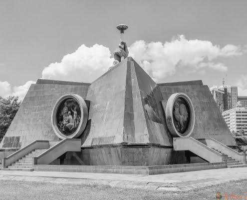 Nyayo Monument in Central Park in Nairobi, Kenya. B&W