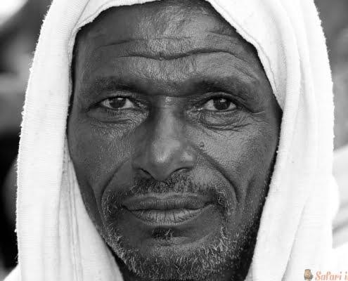 Portrait of an Afar Farmer in Ethiopia B&W