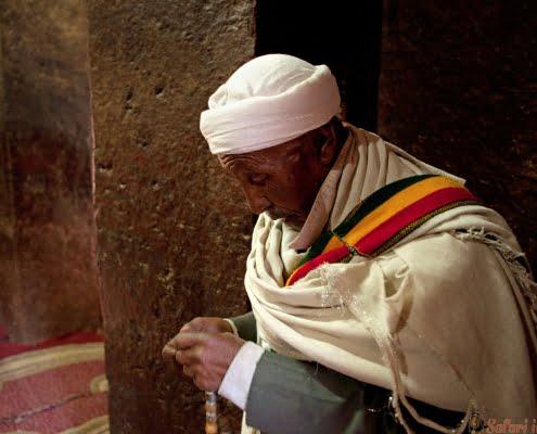 Praying in Lalibela