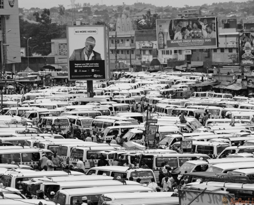 Public Transportation Hub in Kampala, Uganda B&W