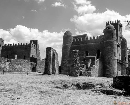 Royal ethiopian kings castle in Gondar, Ethiopia B&W