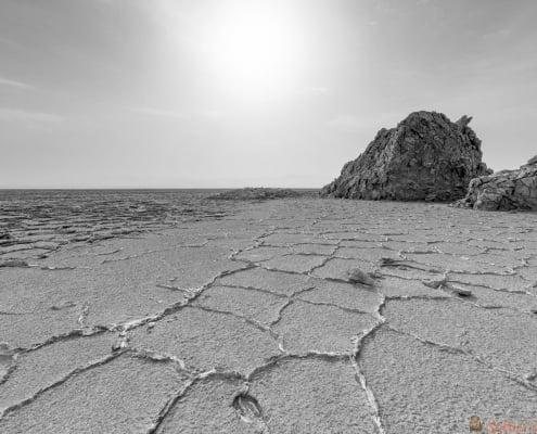Salt formations in the Danakil depression, Ethiopia, near to ale lake B&W
