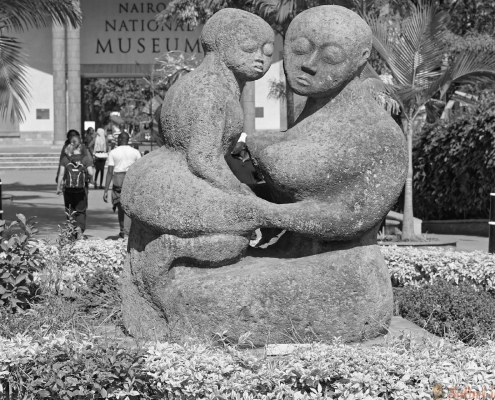 Sculpture in front of national museum Nairobi, Kenya B&W