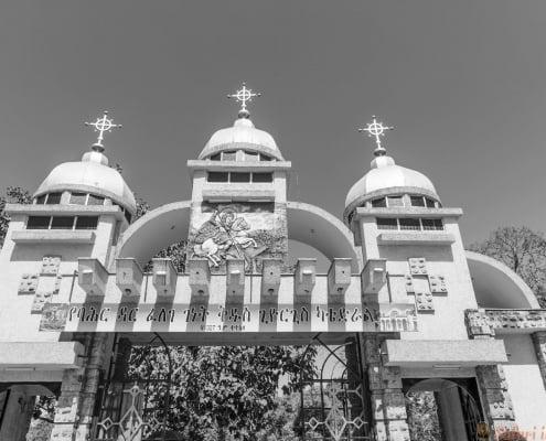 St. George church in Bahir Dar. Ethiopia, christian. B&W