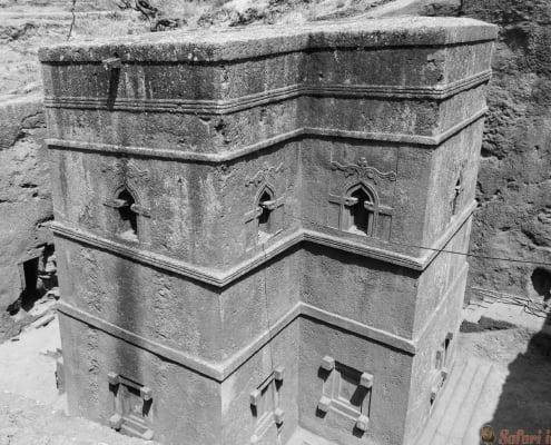 St. Georgys Church of Lalibela, Ethiopia B&W
