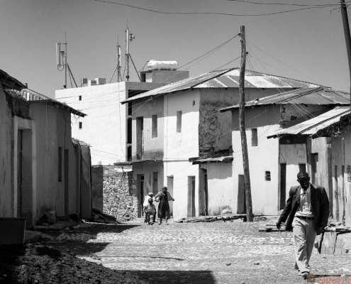Street scene and man in Axum B&W