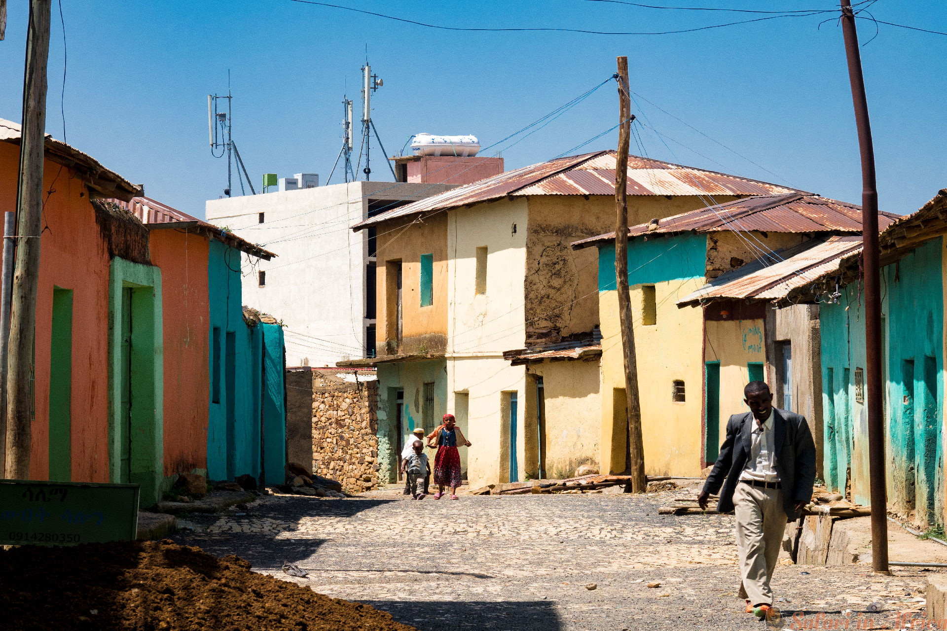 Street scene and man in Axum