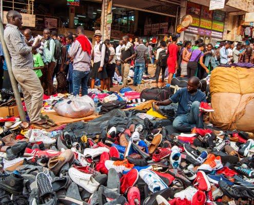 Sunday market shoe stall, Luwum Road, Kampala