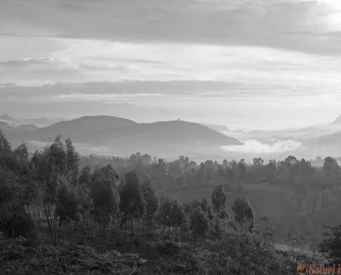 Sunrise, Konso Mountains, Ethiopia, Africa. B&W