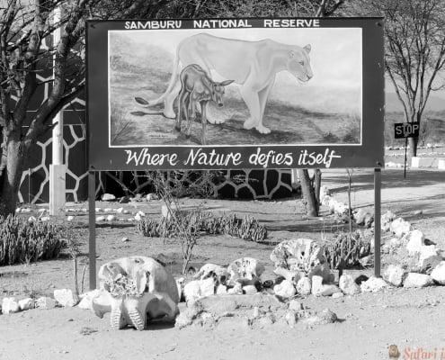 The Samburu National Reserve gate B&W