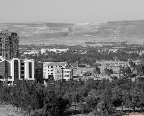 The city skyline of Mekele in Ethiopia 2 B&W