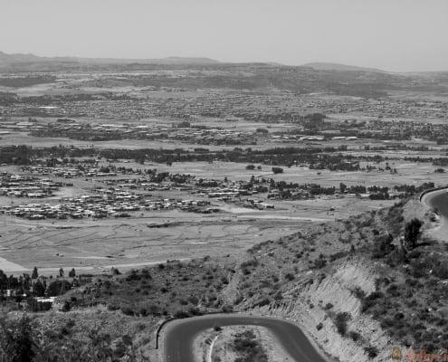 The city skyline of Mekele in Ethiopia B&W