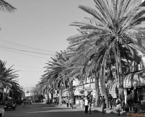 The city streets of Mekele in Ethiopia B&W