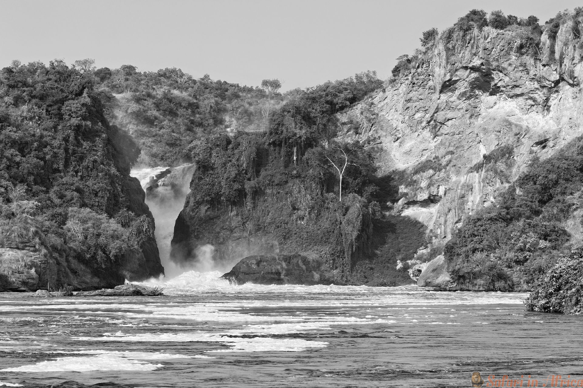 The waterfall on the Victoria Nile, Murchison Falls , northern Uganda B&W