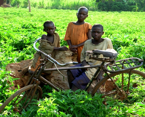 These kids are part of a small village in the northern suburbs of Kampala, Uganda