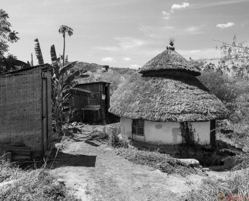 Traditional Ethiopian house. Karat Konso. Ethiopia B&W