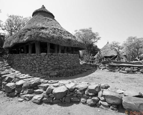 Traditional Ethiopian village Karat Konso. Ethiopia. B&W