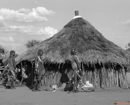 Traditional village of Hamer people B&W