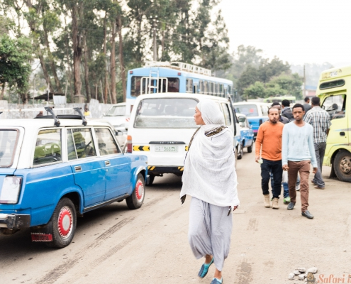 Traffic in the street of Addis Ababa, Ethiopia