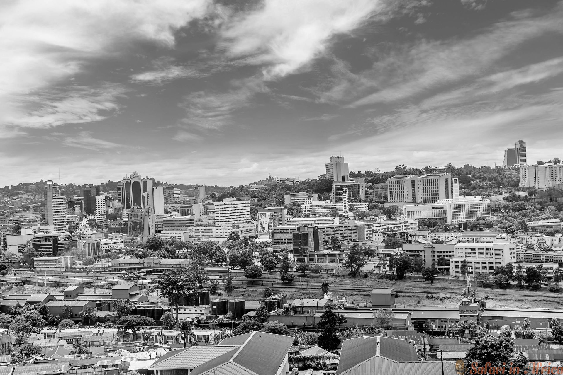 View from the above of the Capital city Kampala in Uganda B&W