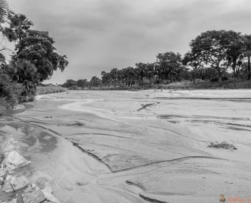 Wide angle view of Kidepo river in Uganda B&W