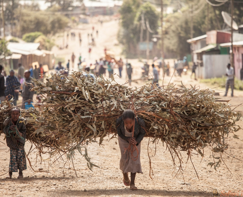 Woman and child with heavy loads, Ethiopia